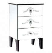Gabriella 3 Drawer Mirrored Bedside