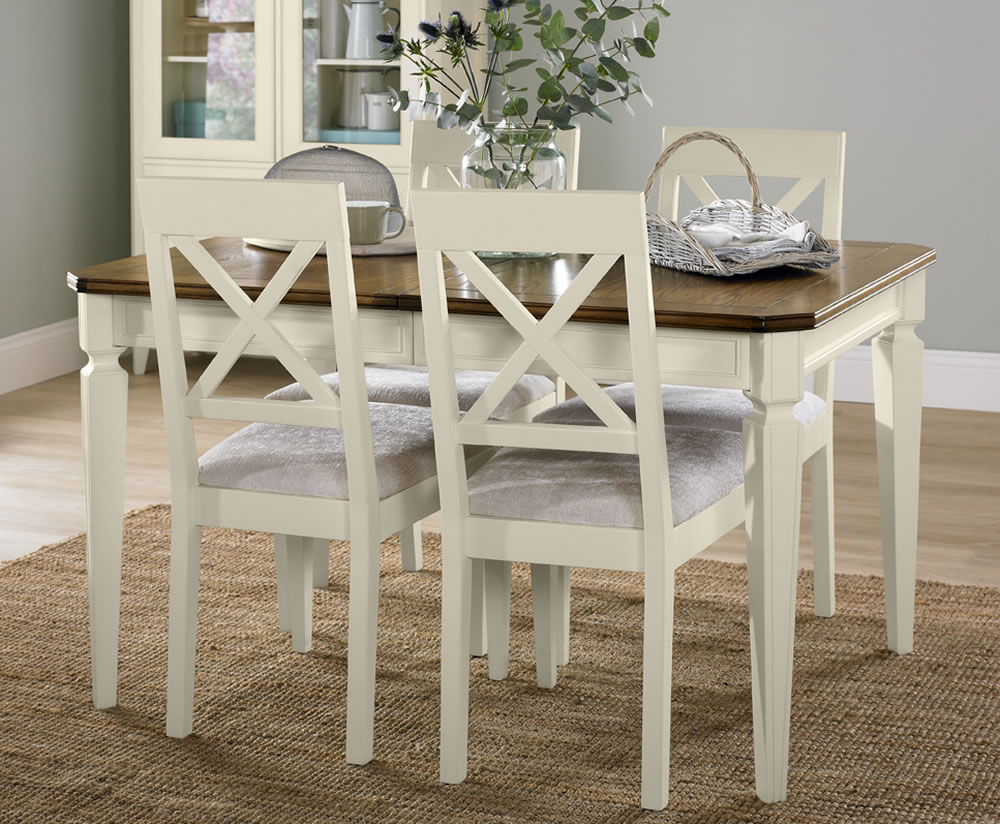 sophia two tone small extending dining set