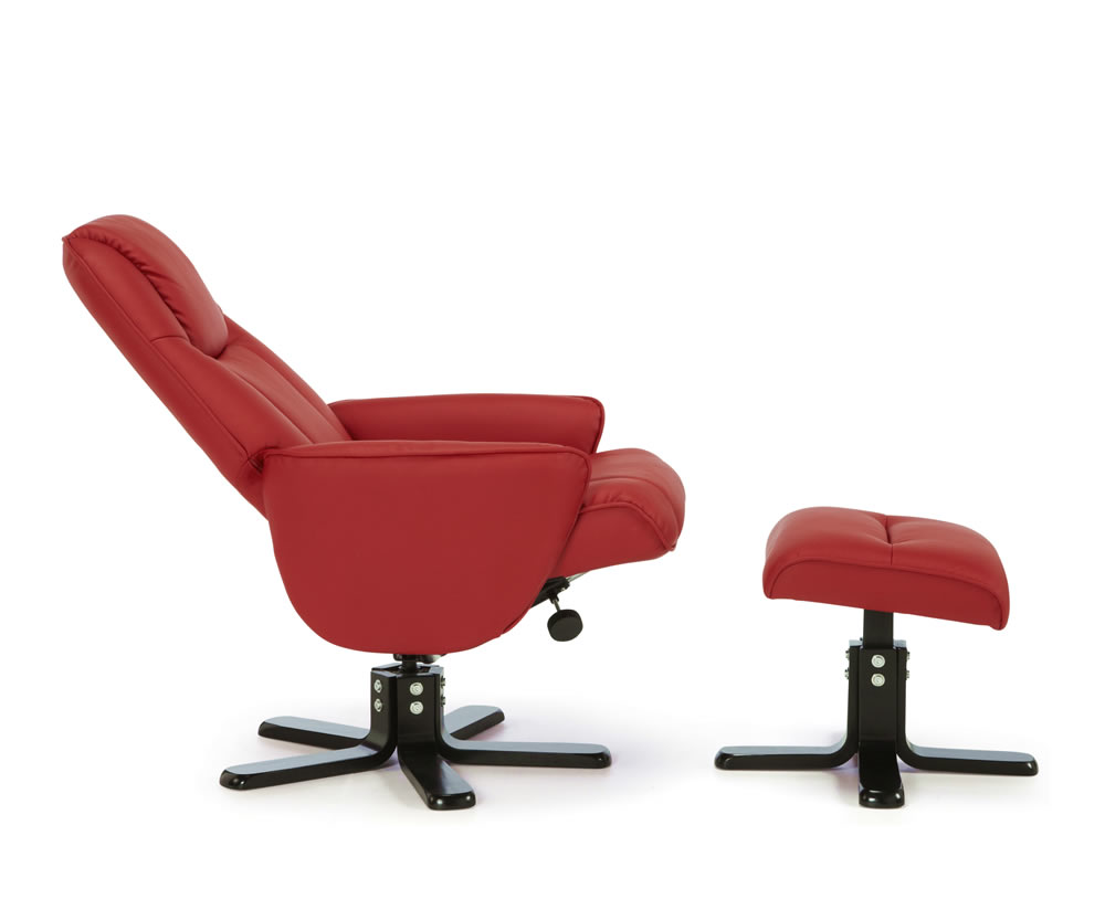 Jeremy Red Faux Leather Recliner Chair And Foot Stool