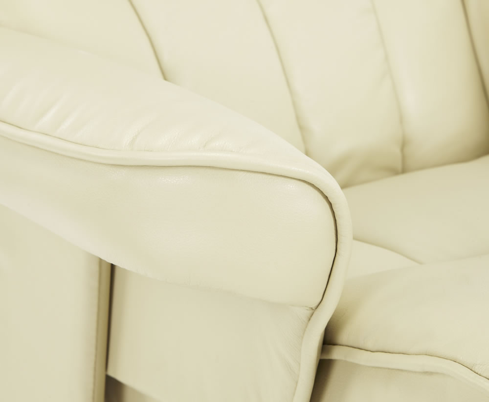 Rosenberg Cream Faux Leather Recliner Chair And Stool