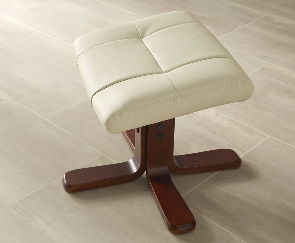 welton cream faux leather massage recliner chair and stool frances