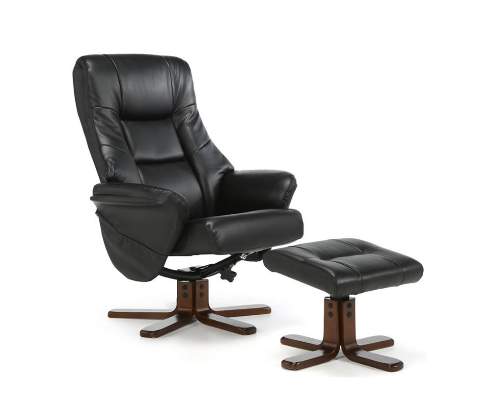 Welton Black Faux Leather Massage Recliner Chair Amp Stool