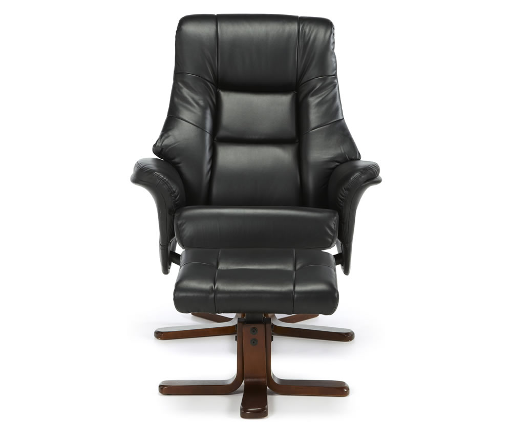 Black Faux Leather Chair: Welton Black Faux Leather Massage Recliner Chair & Stool
