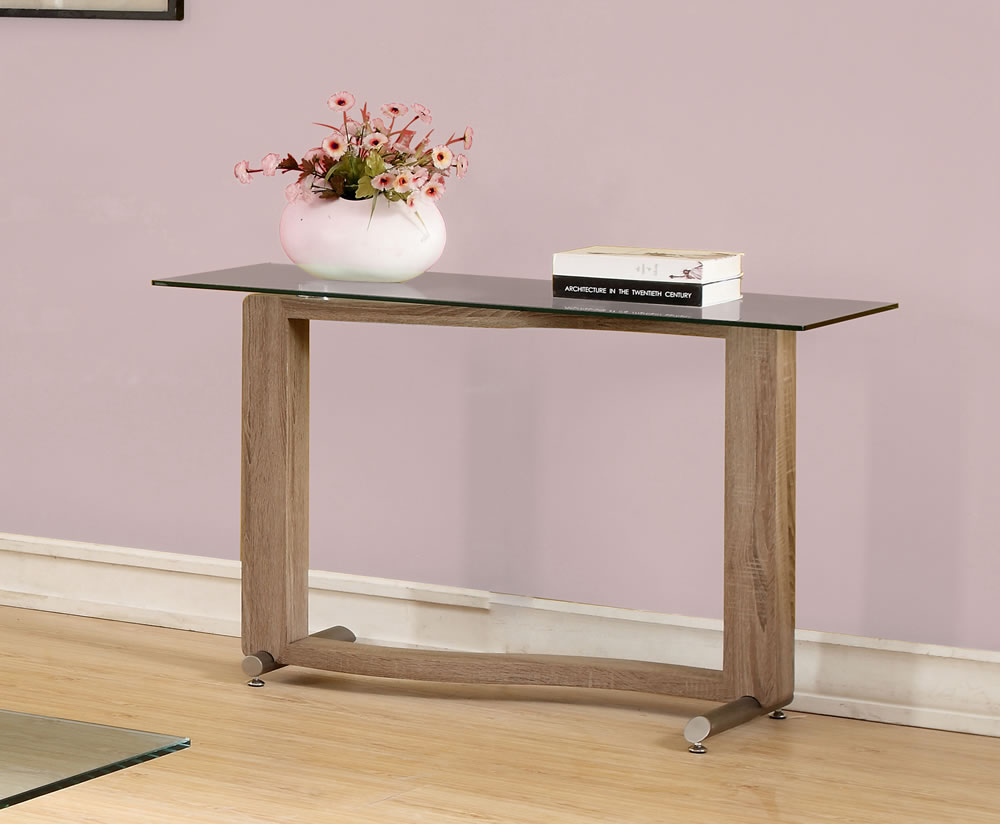 Frances Hunt Garvey Wood Effect and Glass Console Table