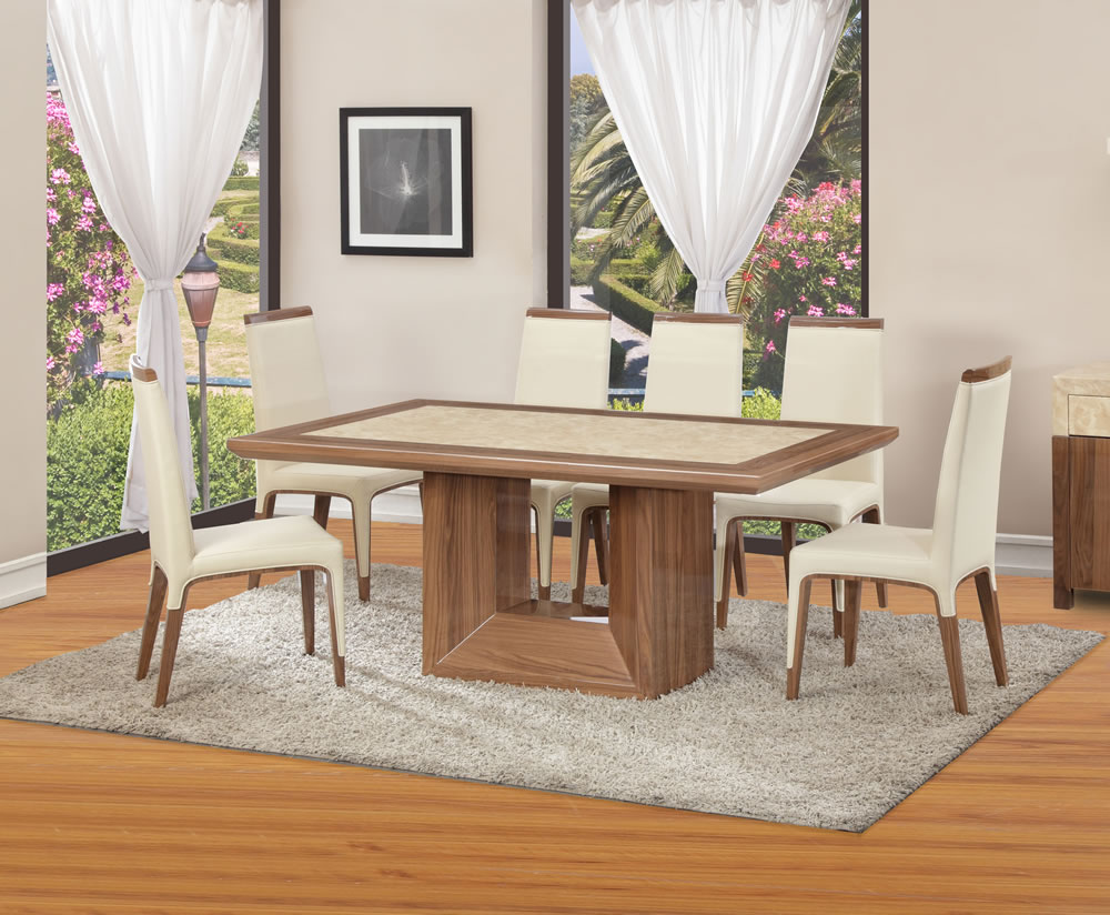 Pryor marble and walnut effect dining table and chairs Walnut effect living room furniture
