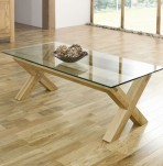 Lyon Oak Glass Top Coffee Table