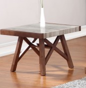 Tyne Marble and Walnut Effect Lamp Table