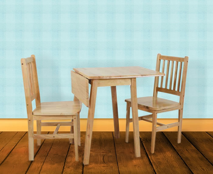 Starter drop leaf table chairs natural finished table with 2 chairs - Drop leaf table and chairs uk ...