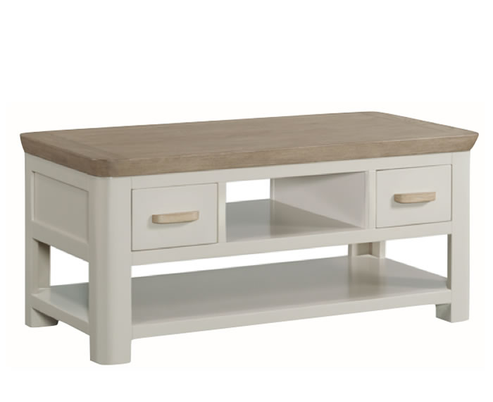 Angelo Stone Painted And Oak Small Storage Coffee Table