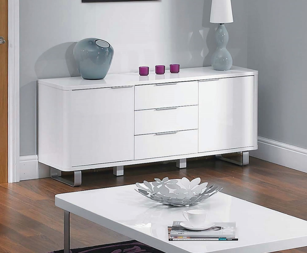 Mya White High Gloss Sideboard Uk Delivery