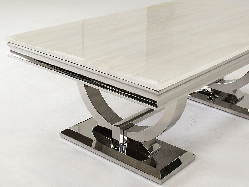 Steel and Marble Coffee Table