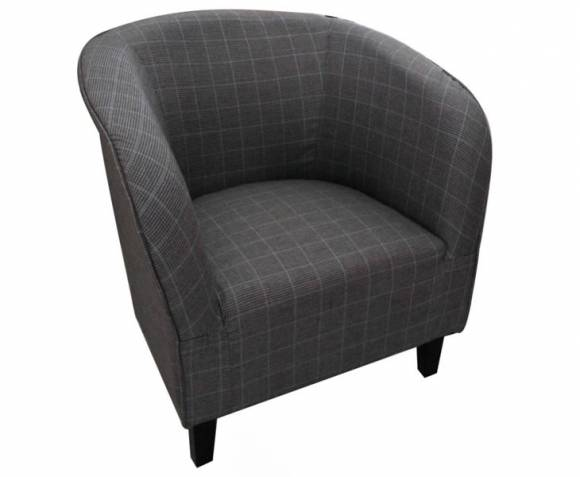 Hilda Graphite Scottish Plaid Upholstered Tub Chair *Special Offer*