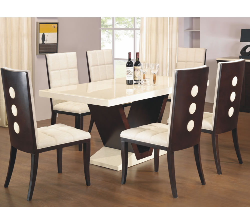 Arta marble dining table and chairs for Furniture dining table