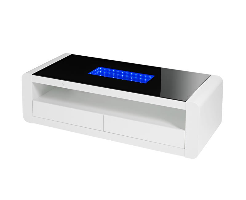 Data led black glass and white high gloss coffee table frances hunt Led coffee table