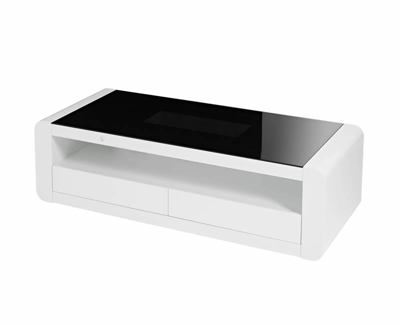 Data Led Black Glass And White High Gloss Coffee Table Frances Hunt