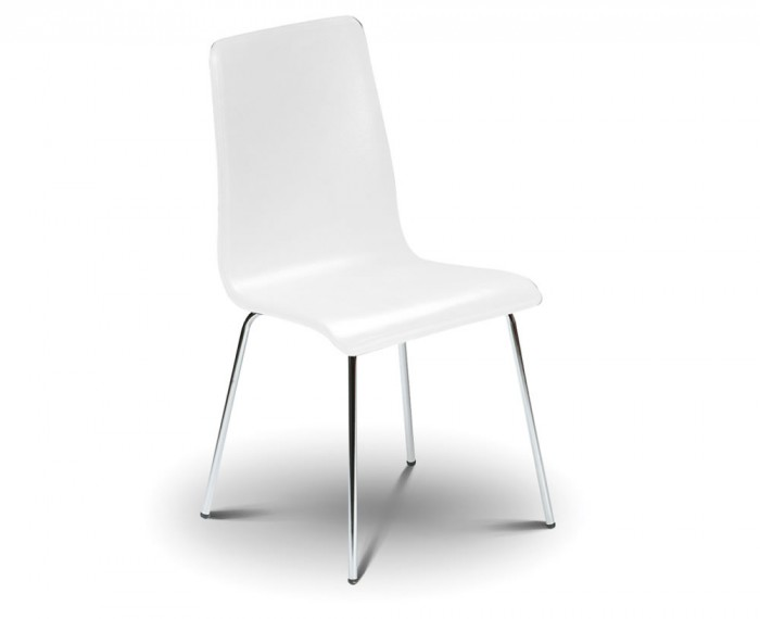 mandy white budget chrome leg dining chair *special offer*