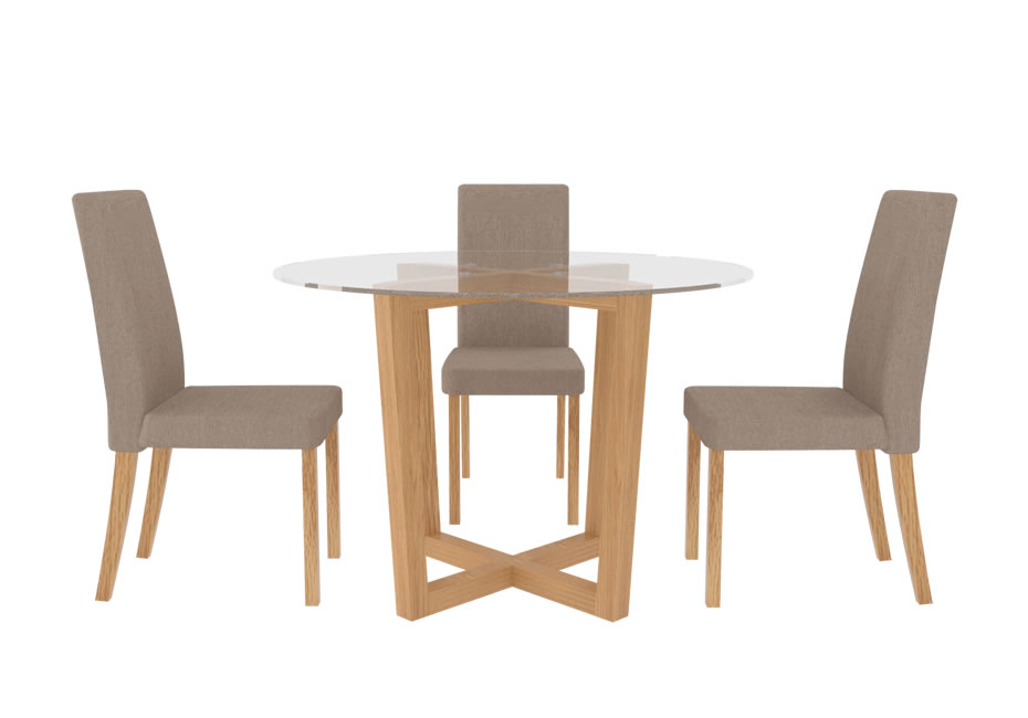 Tables Zaragoza Glass and Oak Kitchen Table and Chairs 4 beige chairs