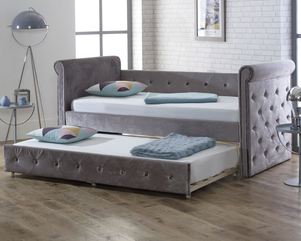 bedroom sets with mattress zodiac 3ft silver velvet upholstered day bed 14423
