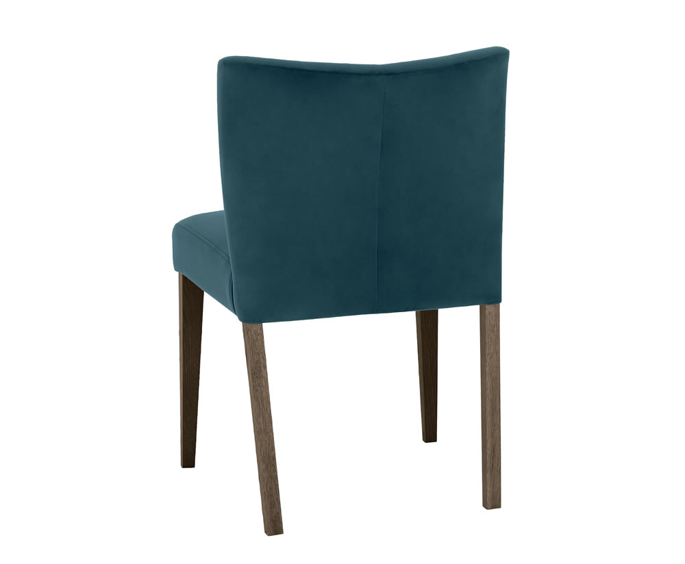 Ventura Dark Oak And Sea Green Velvet Low Back Upholstered