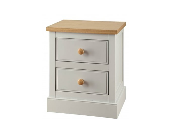 Dove Grey and Ash 2 Drawer Bedside Chest