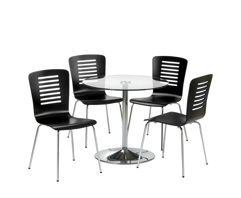 Kansas Round Glass Kitchen Table And 4 Chairs