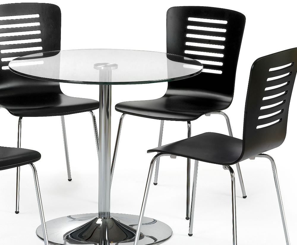 Kansas round glass kitchen table and 4 chairs for Round kitchen table for 4