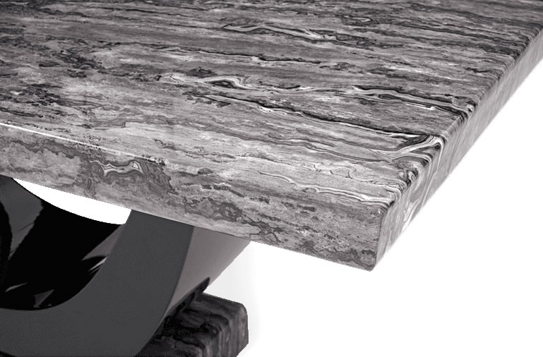 Paulo Dark Grey and Black Marble Dining Table