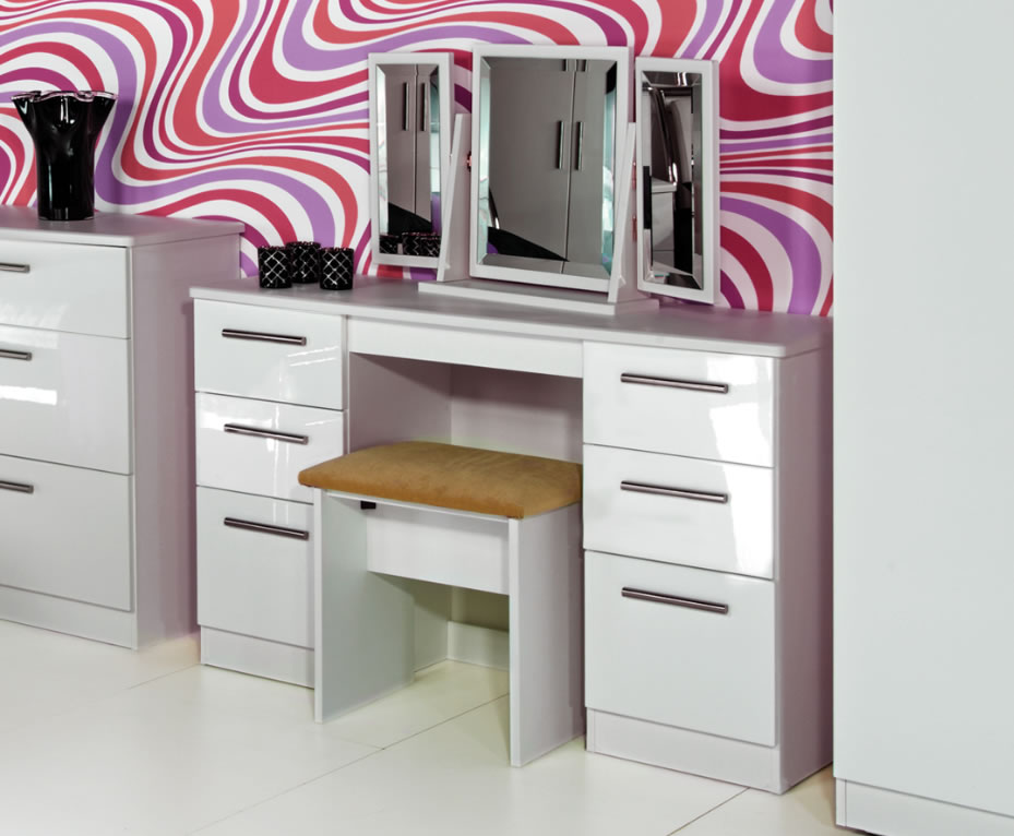 Queen 6 Drawer White High Gloss Dressing Table With Stool