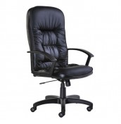 Prince Black Leather Faced Desk Chair