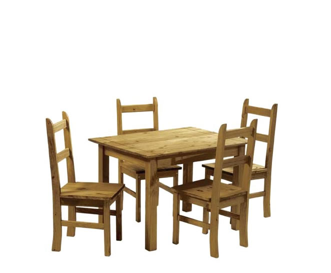 Rustic pine dining room table 4 chairs for Pine dining room table