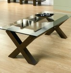 Lyon Walnut Glass Top Coffee Table