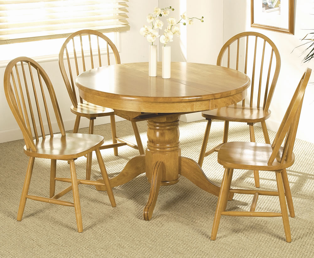 Worcester round extending dining table and 4 chairs - Extended dining table sets ...