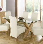 Lyon Oak Glass Top Dining Table and Chairs