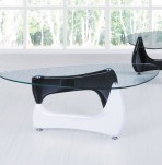 Quebec Black and White Glass Coffee Table