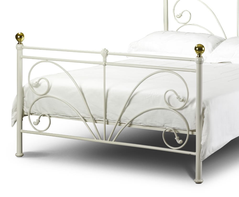 cadiz white metal bed frame