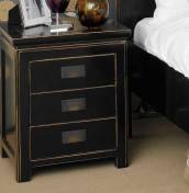 Orient 3 Drawer Black Bedside Chest