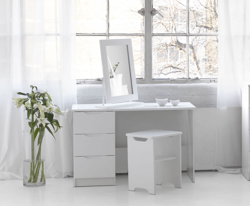 Trend White High Gloss Dressing Table Stool And Mirror Option