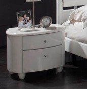 Genova White 2 Drawer High Gloss Bedside Chest