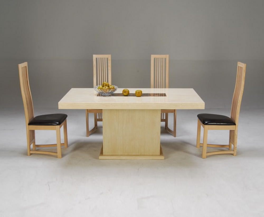 Ciro marble effect dining table and chairs for Marble dining room table