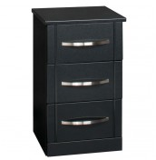 Dari Black High Gloss 3 Drawer Bedside Chest