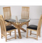 Ophelia Round Glass Dining Table and Chairs