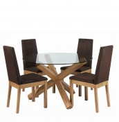 Felix Round Glass Dining Table and Chairs