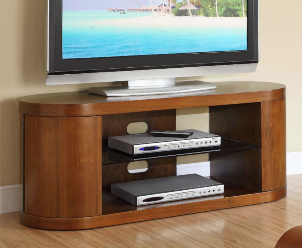 Zennor Curved Walnut and Glass TV Cabinet -> Glass Tv Sideboard