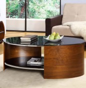 Zennor Oval Walnut and Glass Coffee Table