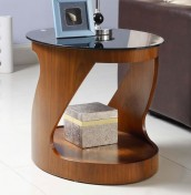 Zennor Oval Walnut and Glass Lamp Table