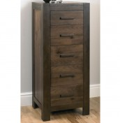 Lyon Walnut 5 Drawer Tall Chest