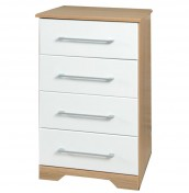 Chiltern 4 Drawer Narrow White & Oak Effect Chest