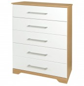 Chiltern 5 Drawer White & Oak Effect Chest