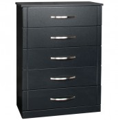 Dari Black High Gloss 5 Drawer Chest