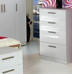 Queen 4 Drawer Deep White High Gloss Chest